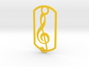 Treble clef dog tag in Yellow Processed Versatile Plastic