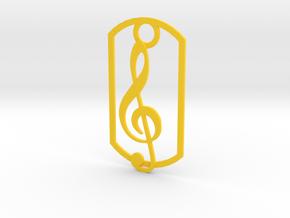 Treble clef dog tag in Yellow Processed Versatile Plastic
