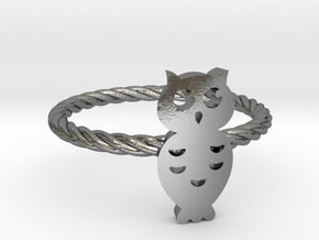 "Owl ""Hoot Hoot"" Midi Ring in Polished Silver"