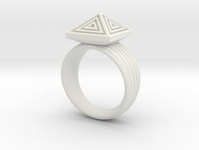 Pyramid Ring in White Natural Versatile Plastic