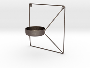 Kube Tealight Holder in Polished Bronzed Silver Steel