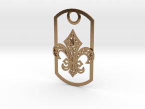 Fleur de lis dog tag in Natural Brass