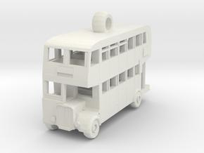 Double Decker Bus in White Natural Versatile Plastic