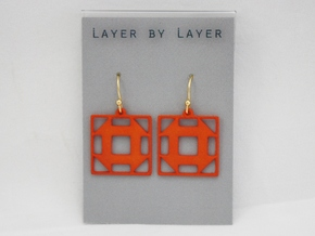 Churn Dash Earrings in Orange Processed Versatile Plastic