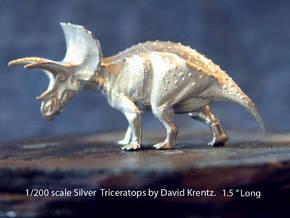 Silver Triceratops by David Krentz 1/200 scale in Natural Silver