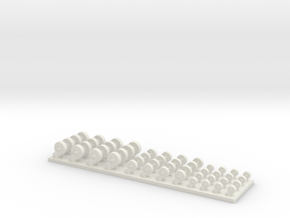 2-3-4 Casters 1/35 scale in White Natural Versatile Plastic