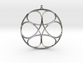 Ephemeral Cubic Shell Pendant in Fine Detail Polished Silver
