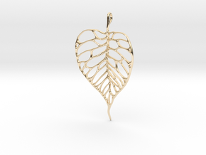 Heart Shaped Leaf Pendant: 5cm in 14K Yellow Gold