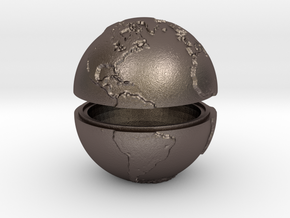 Tactile Miniature Earth (No Stand) in Polished Bronzed Silver Steel