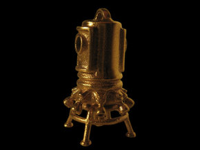 Pendant 03 - asteroid lander in Natural Brass