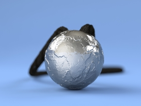 Earth Without Water (Pendant 20mm) in Polished Bronzed Silver Steel