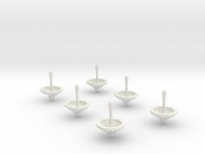 Minitop 6 gaming Dice Set in White Natural Versatile Plastic