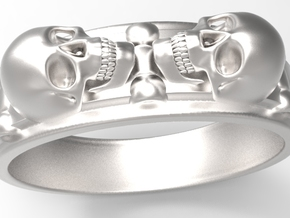 skullring - two skulls in Stainless Steel