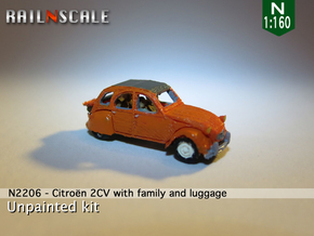 Citroën 2CV - avec la famille (N 1:160) in Smooth Fine Detail Plastic