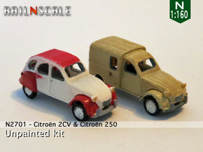 SET 2x Citroën 2CV (N 1:160) in Smooth Fine Detail Plastic