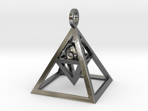 Sight of Pyramid Pendant Mini in Fine Detail Polished Silver