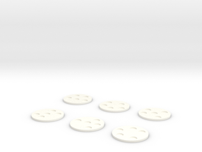 30mm Round Bases for 6mm miniatures in White Processed Versatile Plastic