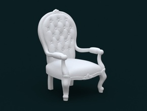1:39 Scale Model - ArmChair 02 in White Natural Versatile Plastic