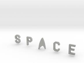 Space Bar Lettering in Metallic Plastic