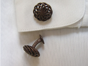 SpiralCufflinks2 in Polished Bronzed Silver Steel