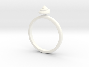 Ring Shit Size US 6 (16.5mm) in White Strong & Flexible Polished