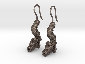 Aretes Quetzalcoatl in Polished Bronzed Silver Steel