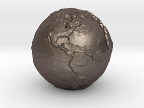 Tactile Miniature Earth in Polished Bronzed Silver Steel