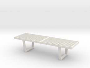 1:24 Nelson Bench in White Natural Versatile Plastic