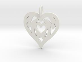 Mom love pendant 1.5 inch in White Natural Versatile Plastic