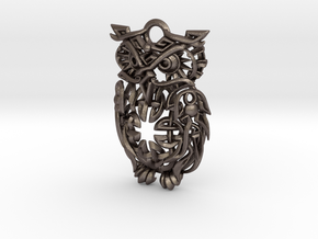 Celtic Owl Pennant 40mm in Polished Bronzed Silver Steel