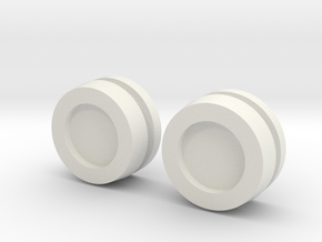 Thruster Cap Pairs Disassembled in White Natural Versatile Plastic