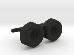 Spiral Nut Cufflinks in Black Natural Versatile Plastic
