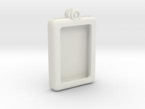 Rectangular Frame Pendant in White Natural Versatile Plastic