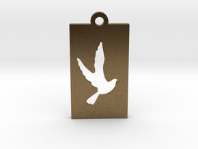 Rectangular Frame Pendant Dove Insert in Natural Bronze