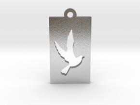 Rectangular Frame Pendant Dove Insert in Natural Silver