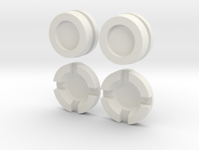 Thruster Cap  & Center Insert Pairs Disassembled in White Natural Versatile Plastic