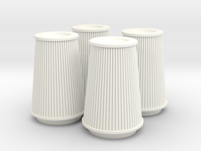 1/12 K&N Cone Style Air Filters TDR 4970 in White Strong & Flexible Polished