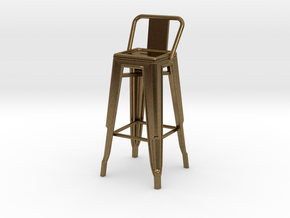 1:24 Tall Pauchard Stool, with Low Back in Natural Bronze