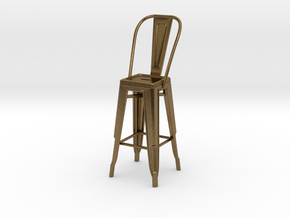1:24 Tall Pauchard Stool, with High Back in Natural Bronze
