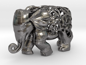 Figurine Elephant Verziert in Polished Nickel Steel