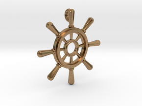 Ships Wheel Pendant in Natural Brass