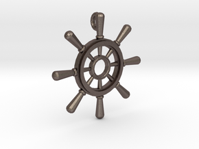 Ships Wheel Pendant in Polished Bronzed Silver Steel