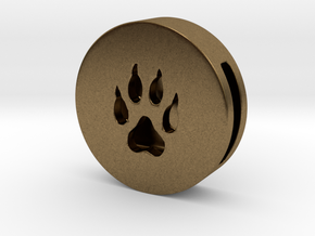 Band Charm round - Wolf Paw print in Natural Bronze