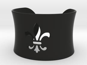Fleur De Lis Bangle Cuff Bracelet in Black Natural Versatile Plastic
