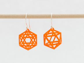 Icosahedron Earrings in Orange Processed Versatile Plastic