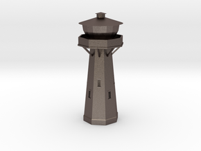 Z Scale European Water Tower in Polished Bronzed Silver Steel