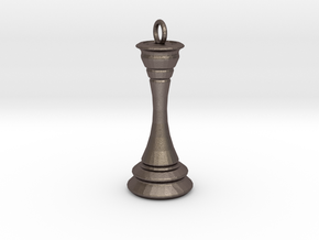 Chess Queen Keychain in Polished Bronzed Silver Steel