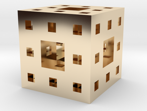 Menger Sponge Pendant in 14K Yellow Gold