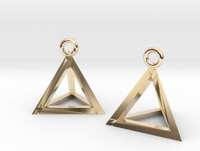 Tetrahedron earrings #Silver in 14K Yellow Gold