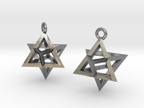 Star Tetrahedron earrings #Gold in Natural Silver